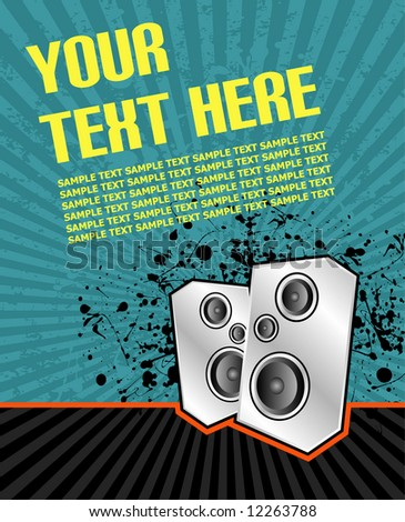 vector illustration of high powered speakers on an acid grunge background - stock vector