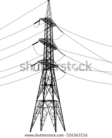 Vector illustration of high voltage power pylons on a white background - stock vector