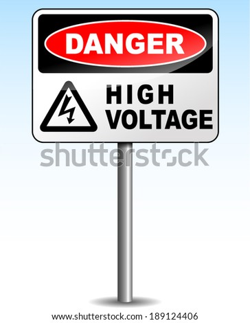 Vector illustration of high voltage sign on sky background