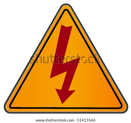 vector illustration of high voltage sign on triangular road sign - stock vector