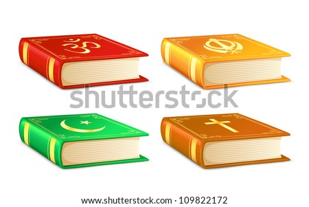 vector illustration of holy book for different religion - stock vector