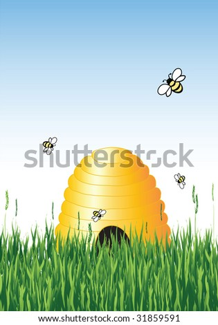Vector illustration of honey bees around a hive in summer with copy space - stock vector