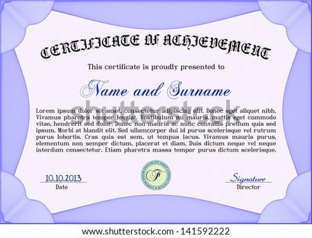 vector illustration horizontal certificate diploma coupon stock  vector illustration of horizontal certificate diploma or coupon template very complex border design