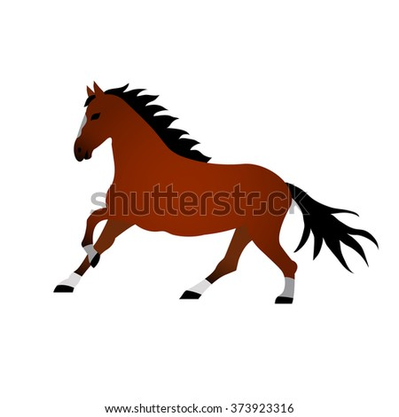 Vector illustration of horse on white background. Element for design.