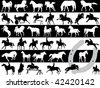 Vector illustration of horses over black and white - stock vector