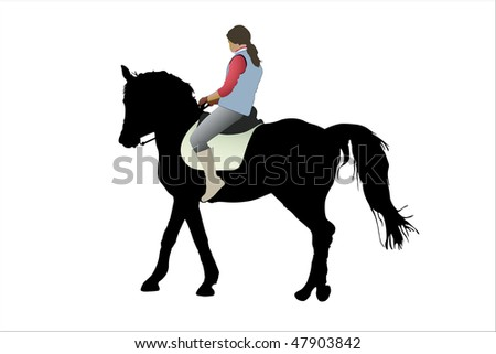vector illustration of horsewoman and the horse under the white background - stock vector