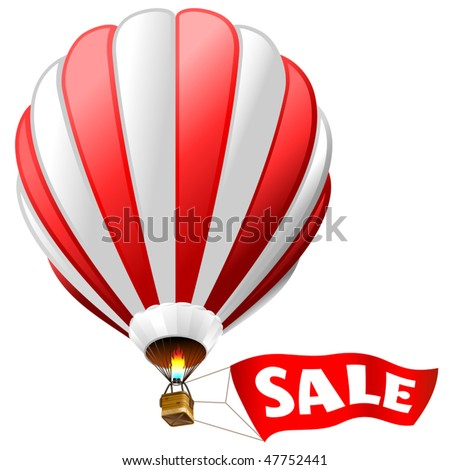 """vector illustration of hot air balloon with red sign """"sale"""" - stock vector"""