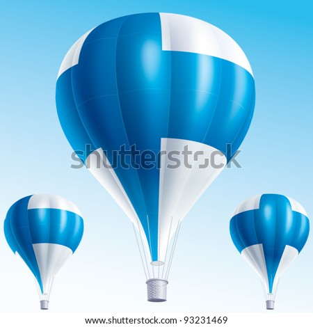 Vector illustration of hot air balloons painted as Finland flag - stock vector