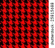 Vector illustration of hound's tooth check woven tweed fabric with seamless repeat background pattern in vivid red and black - stock vector