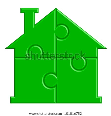 Vector illustration of house from puzzle - stock vector