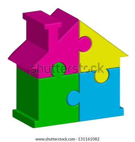 Vector illustration of house from puzzles - stock vector