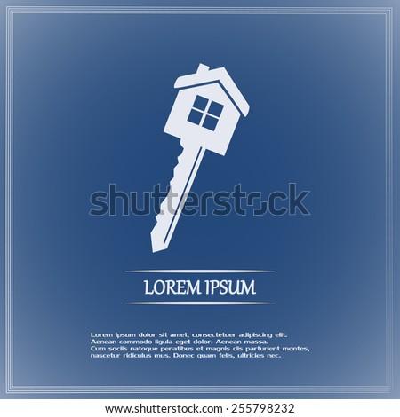 Vector illustration of house key - stock vector