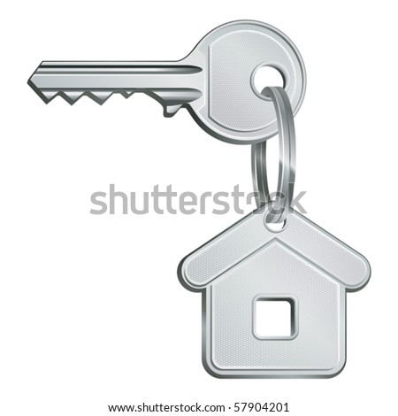 vector illustration of house key - stock vector