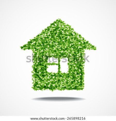 Vector illustration of house made with little green leaves with shadow below - stock vector