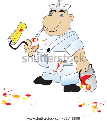 Vector illustration of house painter - stock vector