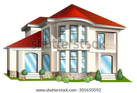Vector Illustration of house  with tile roof on a white background - stock vector
