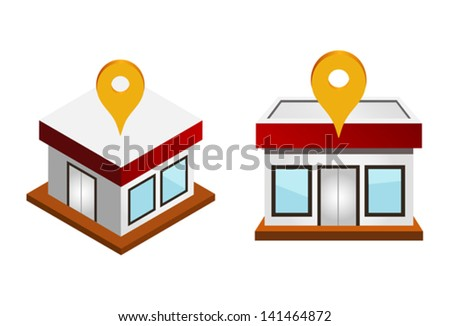 Vector illustration of houses with map pin