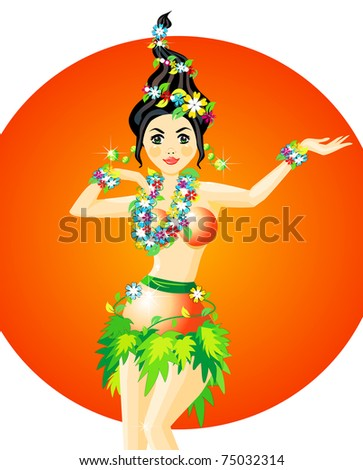 Vector illustration of hula dancer with garlands of flower