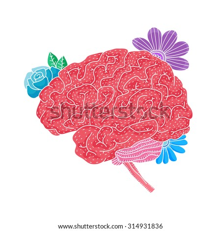Vector illustration of human brain with flowers isolated on white background for medical design or idea of logo - stock vector