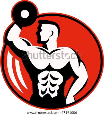 vector illustration of human figure body builder lifting a dumbbell set inside a circle. - stock vector
