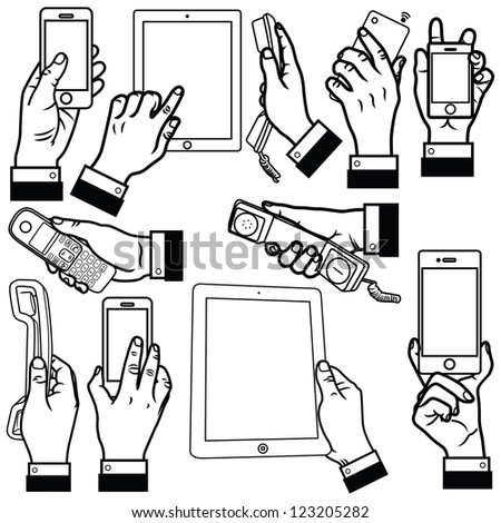 Vector illustration of human hand holding smart phone, office phone and tablet computer set. - stock vector