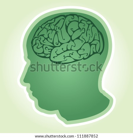 Vector illustration of human head and brain. - stock vector