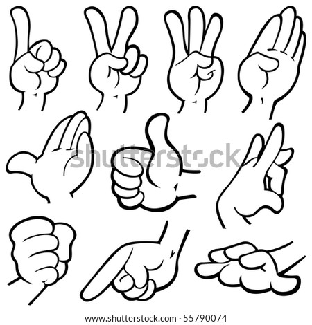 Vector illustration of humanâ??s hands in different poses.
