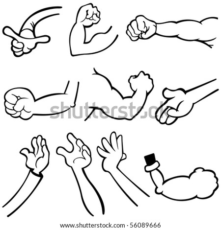 Vector illustration of human's hands in different poses.