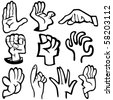 Vector illustration of human's hands in different poses. Please view my portfolio for more vector illustration. - stock vector