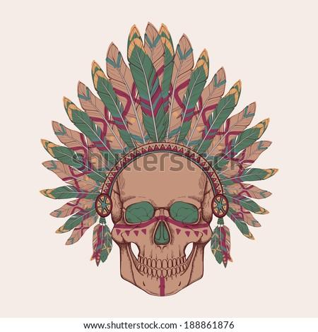 Vector illustration of human skull in native American Indian chief headdress - stock vector