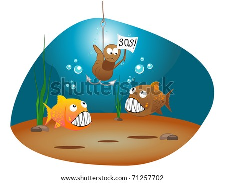 vector illustration of hungry fishes and worm with a tablet - stock vector