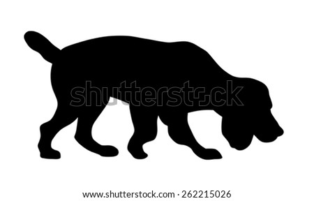 Vector illustration of hunting dog on the trail silhouette - stock vector