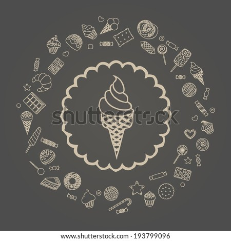 Vector illustration of ice cream in a round frame from sweets - stock vector