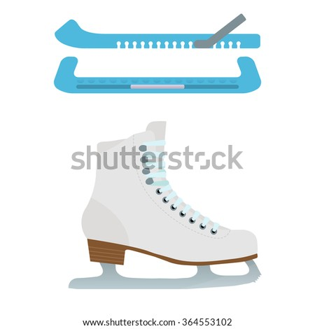 Vector illustration of ice skates and blade guards on white background. Elements for design. - stock vector