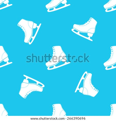 Vector illustration of ice skates  seamless pattern. White on blue background. - stock vector