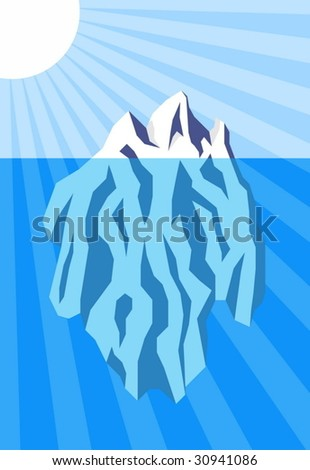 Vector illustration of iceberg floating in water