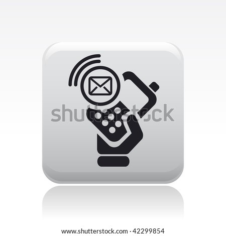 Vector illustration of icon isolated in a modern style, depicting a hand holding a mobile phone with the sms message symbol
