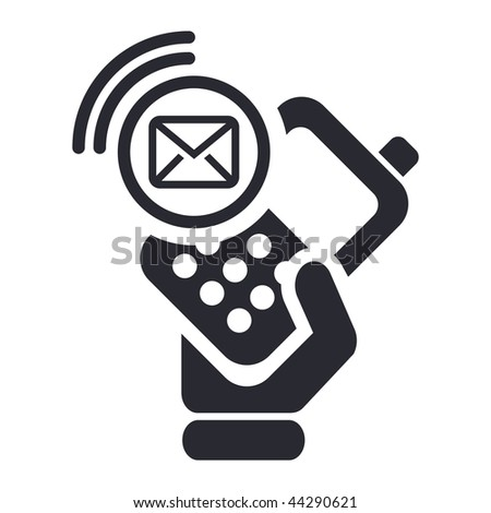 Vector illustration of icon isolated in a modern style, depicting a hand holding a mobile phone with the sms message symbol - stock vector