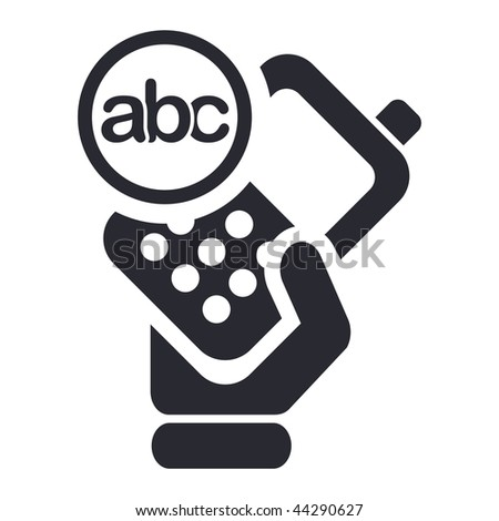 Vector illustration of icon isolated in a modern style, depicting a hand holding a mobile phone with the text symbol - stock vector