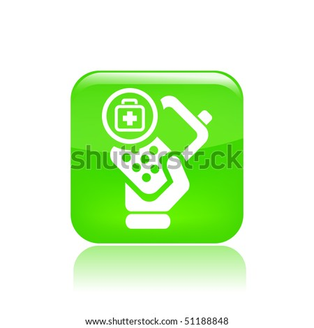 Vector illustration of icon isolated in a modern style, depicting a hand holding a mobile phone with the nursing symbol - stock vector