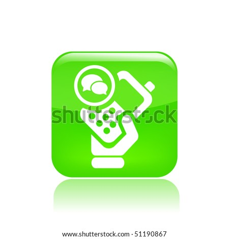 Vector illustration of icon isolated in a modern style, depicting a hand holding a mobile phone with the chat symbol