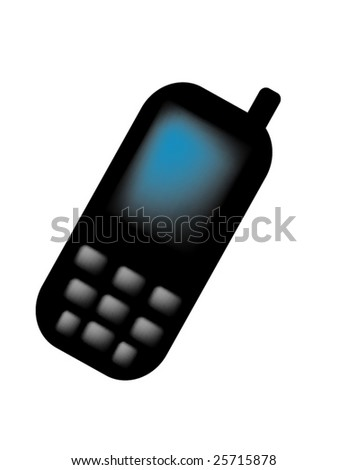 vector illustration of icon of  black mobile phone isolated on white