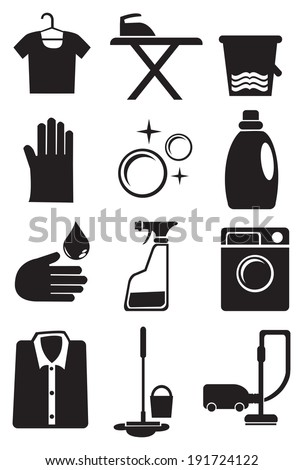 Vector illustration of icon set for laundry and cleaning services - stock vector
