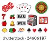 Vector illustration of  icon set or design elements relating to casino. - stock vector