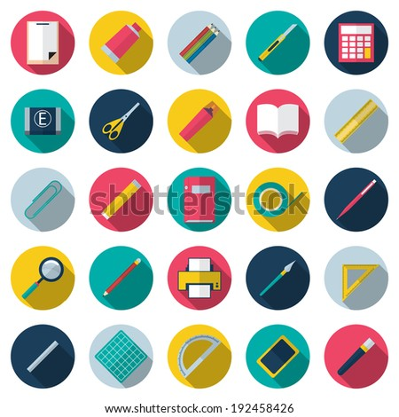Vector illustration of icon set school supplies with long shadow - stock vector