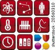 Vector illustration of icon set: science, and buttons. Only global colors. CMYK. Easy color changes. - stock vector
