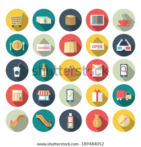Vector illustration of icon set shopping with long shadow effect - stock vector