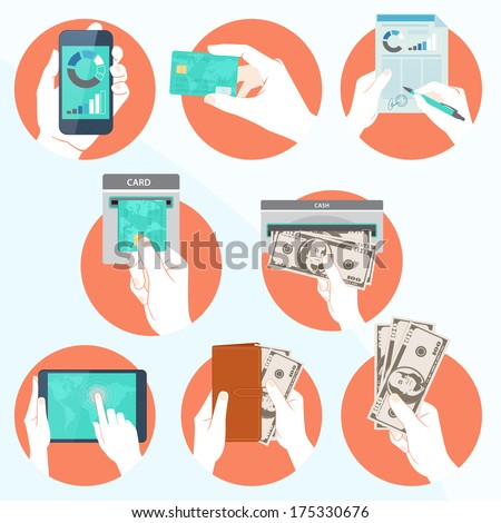 Vector Illustration of  Icon set with Hands holding credit card, smartphone, money and other commercial objects - stock vector