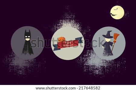 vector illustration of icons of Halloween with the effect of antiquity - stock vector