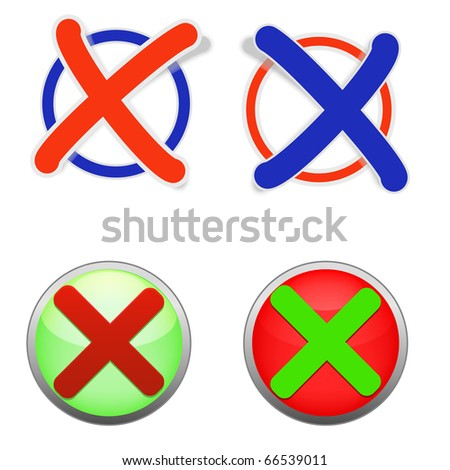 vector illustration of icons of validation in green and red - stock vector